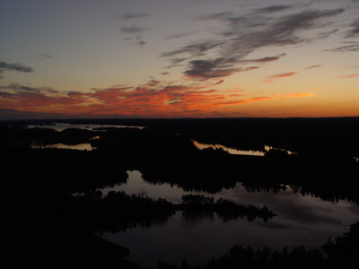 Lookout over Temagami at sunset.